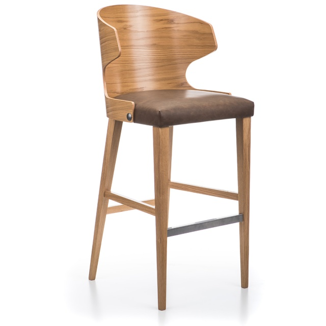 LOTUS GRANDE WOOD bar stool with armrests