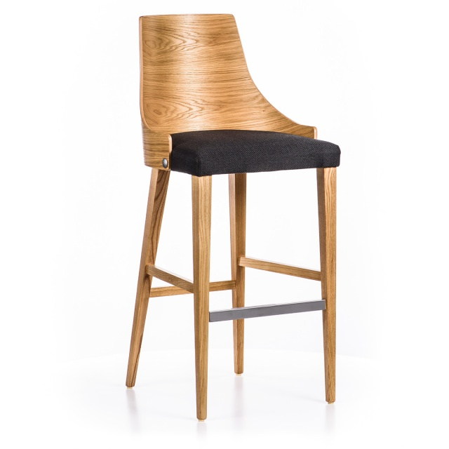 LUX GRANDE WOOD bar stool with armrests